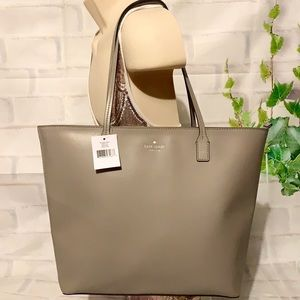 🌺KATE SPADE SOFT 🌺 TAUPE FELICITY STREET LEATHER TOTE